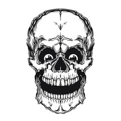 Crazy skull with big eyes. Vector illustration isolated on white background.
