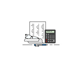Accounting concept icon. Bookkeeping line vector design. Paperwork and calculator illustration
