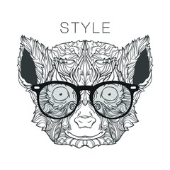 Ornament face of Madagascar lemur with fashion eyeglasses in black and white colors. Line art style. Vector illustration isolated on white background.