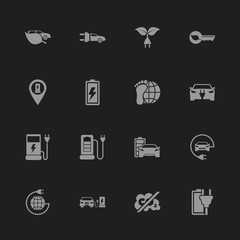 Electro Car icons - Gray symbol on black background. Simple illustration. Flat Vector Icon.
