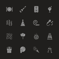 Events icons - Gray symbol on black background. Simple illustration. Flat Vector Icon.