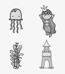 Sea animals hand drawing cartoons