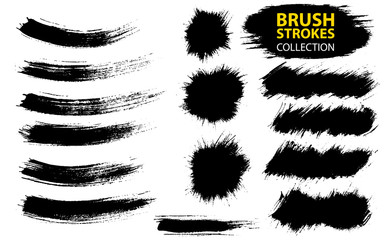 Vector large set different grunge brush strokes.