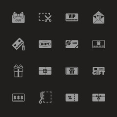 Gift Cards icons - Gray symbol on black background. Simple illustration. Flat Vector Icon.