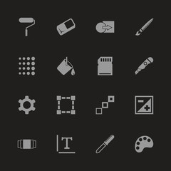 Image icons - Gray symbol on black background. Simple illustration. Flat Vector Icon.