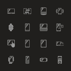 Mobile Devices icons - Gray symbol on black background. Simple illustration. Flat Vector Icon.