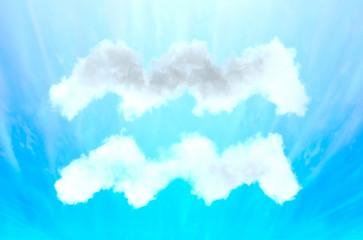 Astrology symbol in cloud material - Aquarius