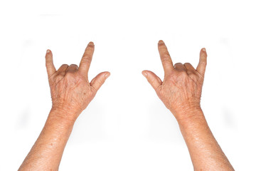 Rock and Roll hands old women. Sign. Isolated on white background.