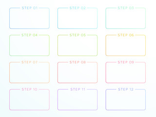 Numbered Outlined Text Box Steps 1 to 12 Vector
