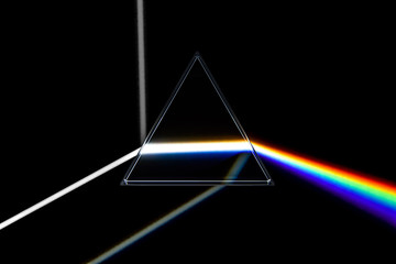 Rainbow light prism. Optical glass pyramid with visible spectrum wave rays vector illustration, 3D rendering