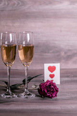 Champagne and love message
