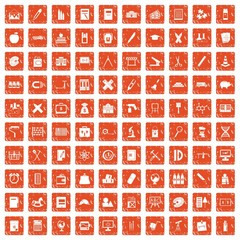 100 pensil icons set grunge orange