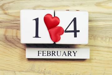 Wooden calendar show of 14th February