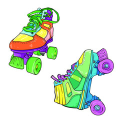 Set of two different quad roller skates, vector illustration isolated on white background