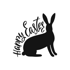 Happy Easter greeting card with silhouette of bunny. Handwritten vector lettering text. Calligraphic phrase.