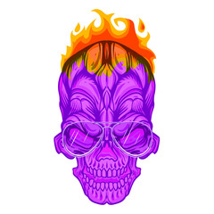 Pink face of skull with fire on head and aviator eyeglasses, vector illustration isolated on white background