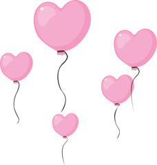 love heart shape pink valentines balloon fly in the air isolated on white - vector illustration