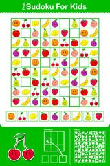 Colorful kids sudoku puzzle grid with nine fruit