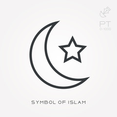Line icon symbol of islam