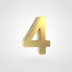 3D rendered golden number 4 isolated on white background.