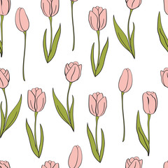 Vector pink tulips pattern. Flower isolated elements. For design, card, print or background