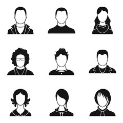 Individual person icons set, simple style