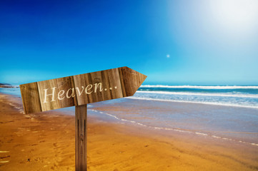 Heaven sign on the ocean background