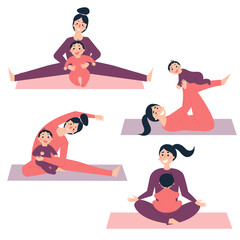 Different yoga and morning exercises with baby. Young woman with her child is stretching and making sports in gym or at home, using gymnastic rug mat. Vector illustration in flat style