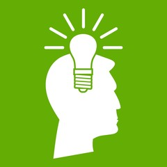 Light bulb idea icon green