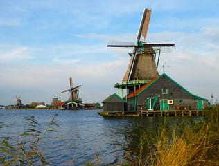 Windmills at Zaanse Schans near Amsterdam in Holland