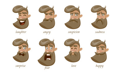 Hipster charcter expressions set. Laughter, angry, suspicion, sadness, surprise, fear, love, happy. Vector illustration.