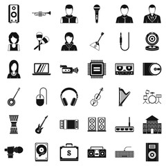 Sheet music icons set, simple style