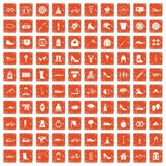 100 shoe icons set grunge orange