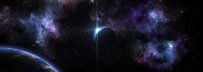starry sunrise over the planet in the background of space