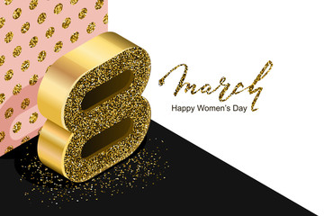 8 March vector bannerd, International Women's Day. Golden number eight in 3d isometric style on white pink black background. Holiday design elements for greeting card, poster, party invitation.