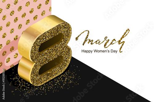 8 march vector bannerd international womens day golden number 8 march vector bannerd international womens day golden number eight in 3d isometric style stopboris Gallery