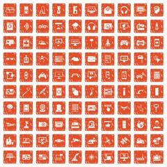 100 software icons set grunge orange