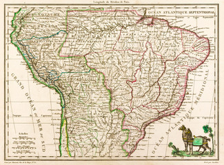 Antique map of South America, 1812, with two llamas