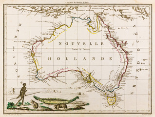 Map of Australia, 1812 (New Holland) with an aboriginal and a kangaroo
