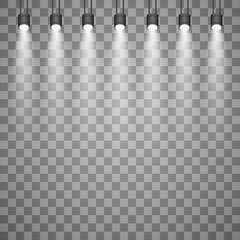 Wall Mural - Spotlights with bright lights on transparent background.