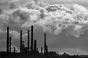 Black and white oil refinery