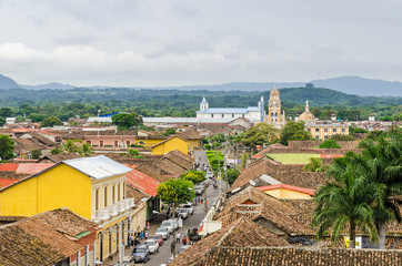 Granada city with Calle Real Xalteva in Nicaragua