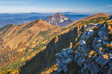 Mountain ridges in the Vratna valley in the national park Mala Fatra, Slovakia, Europe.