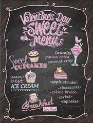 Valentine's day sweet menu chalkboard design