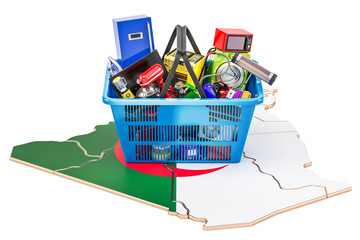 Poster Map of Algeria with shopping basket full of home and kitchen appliances, 3D rendering