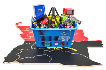 Map of Angola with shopping basket full of home and kitchen appliances, 3D rendering