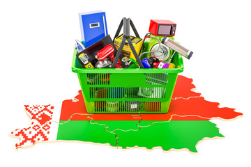 Map of Belarus with shopping basket full of home and kitchen appliances, 3D rendering