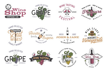 Wine logos, labels set. Winery, wine shop, vineyards badges collection. Retro Drink symbol. Typographic design vector illustration. Stock vector colorful emblems and icons isolated on white background