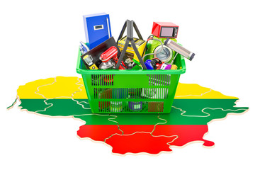 Map of Lithuanian with shopping basket full of home and kitchen appliances, 3D rendering