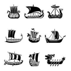 Viking ship boat drakkar icons set, simple style